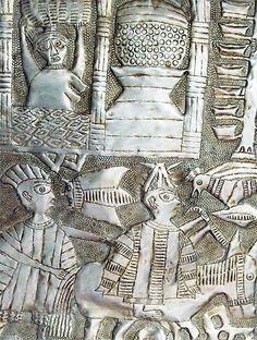 Detail, untitled (1980s) by Nigerian artist Asiru Olatunde (1918-1993). Aluminum, 126 x 93 cm. via Galerie Afrikanische Kunst