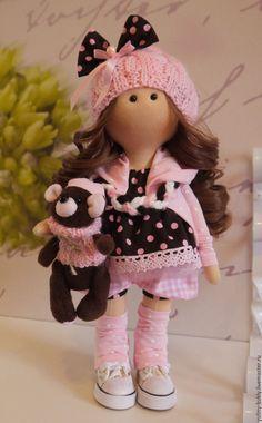 Купить Текстильная куколка-малышка Фло и Нуки - бледно-розовый, куколка в подарок