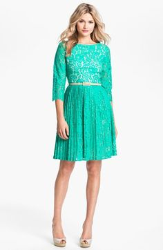 Eliza J Belted Lace Fit & Flare Dress (Petite) available at #Nordstrom  too green?