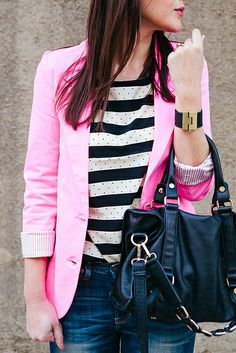My dream outfit-- hot pink blazer with a striped and polka dotted shirt! Love it