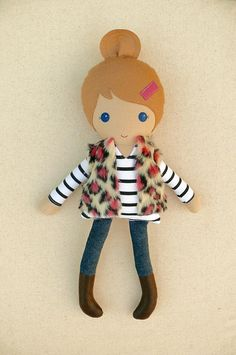Fabric Doll Rag Doll Light Brown Haired Girl in Black and