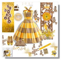 """Yellow and Tan"" by deborah-518 ❤ liked on Polyvore featuring NOVICA, Chico's, Ross-Simons, Dean Harris, David Tutera, Too Faced Cosmetics, Thelermont Hupton, Oliver Gal Artist Co., Studio Mercantile and The French Bee"
