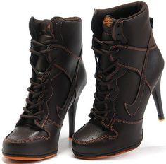 Womens Dark Brown and Orange Nike Heels Dunk SB High
