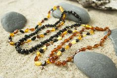 Baby teething necklace polished Baltic Amber baby necklace