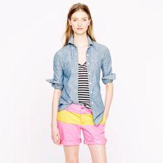 Color Block Broken In Boyfriend Chino Shorts. Neon color block chino shorts  in neon pink e0754c61464b1