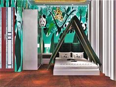 Panda Inn hotel, tent style bedroom China