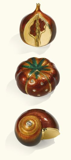 PROPERTY OF A MEMBER OF THE PRINCELY FAMILY SAYN-WITTGENSTEIN: Three Italian gold and enamel pill boxes, Fernando Pacciani di Angiolo, Alessandria, circa 1935-1971, formed as a pomegranate, a pumpkin with rose diamond-set lid and a diamond-set snail, each naturalistically enamelled.