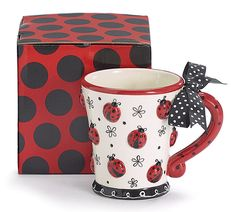 "Dishwasher safe/FDA approved/Microwave safe. Hand painted ceramic lady bug mug. Includes gift box. 4""H X 3""Opening. Holds 10 oz."