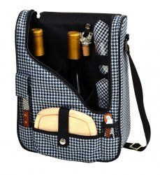 Houndstooth Double Wine & Cheese Carrier - going on a picnic? Take your #wine with you with Rosehill Wine Cellars #wineaccessories and more