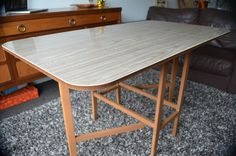 Vintage Retro Drop Leaf Table Melamine Formica Kitchen Dining Fold Gate Leg