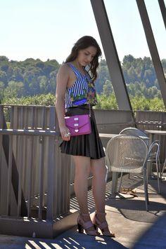 KIKI SIMONE FASHION: STRIPES AND PLEATS flared black leather skirt