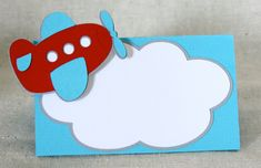 Airplane Place Card / Food Tents by ALittlePaperHouse on Etsy Birthday Cards For Boys, 1st Boy Birthday, Happy Birthday Banners, Tarjetas Baby Shower Niña, Baby Shower Invitaciones, Airplane Gifts, Airplane Party, Transportation Crafts, Barnyard Party