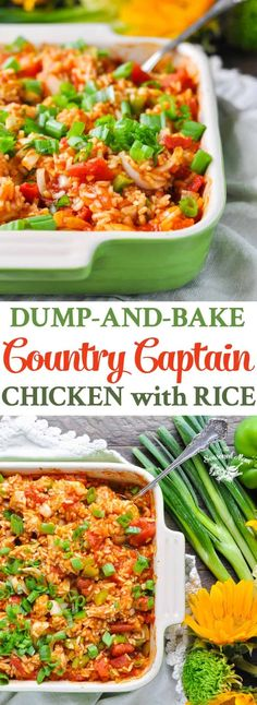 My Dump-and-Bake Country Captain Chicken with Rice is an updated shortcut on a Southern classic, and it's ready for the oven in just 10 minutes! Healthy Pasta Bake, Healthy Baking, Healthy Recipes, Drink Recipes, Yummy Recipes, Baked Chicken Tenders, Baked Chicken Breast, Easy Meal Prep, Easy Meals