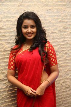 Anupama Parameswaran Hot in Red Saree Latest Photos HD Stills Indian Bollywood, Indian Sarees, Bollywood Actress, Beauty Full Girl, Beauty Women, Anupama Parameswaran, Plain Saree, Thing 1, Red Saree