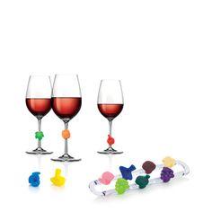 Wielokolorowe znaczki na kieliszki do wina - komplet 12szt.