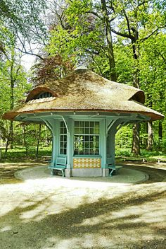 Renovated entrance cottage at Middelheim's open air sculpture park Antwerp Belgium.