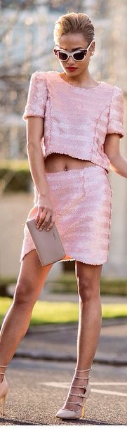 Pink Sequin Crop Skirt And Top Suit ♡✿♔Life, likes and style of Creole-Belle♔✿✝♡