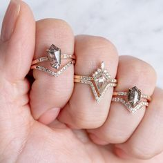 Looking good from all angles, geometric diamond beauties! Emerald Cut Engagement, Modern Engagement Rings, Engagement Ring Cuts, 3 Stone Diamond Ring, Diamond Bands, Diamond Cuts, Beautiful Rings, Angles, Jewelry Box