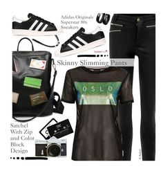 """""""Street Style"""" by beebeely-look ❤ liked on Polyvore featuring ...Lost, adidas Originals, Topshop, StreetStyle, adidas, sammydress, streetwear and blackoutfit"""