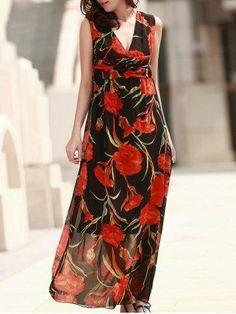 #RoseGal.com - #RoseGal Sleeveless Floral Sheer Evening Dress - AdoreWe.com