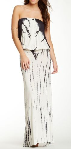 Strapless Tie-Dye Maxi Dress