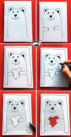 valentines krokotak valentine drawing draw lessons valentinstag valentijn zeichne wie guided activities easy arts kindergarten kinder tekenen knutselen bear2 valentijnsdag