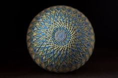 Temari ball Traditional Japanese art embroidery Mandala Blue Green colours Room decoration Yoga gift Thread Handmade ball Meditation sphere