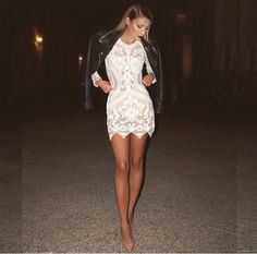 Lace white dress with leather jacket