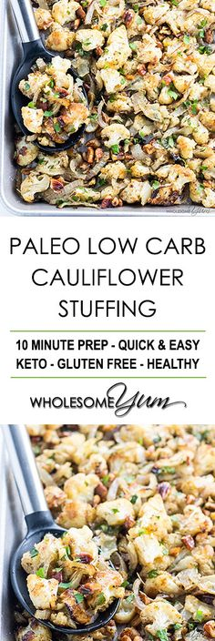 Low Carb Paleo Cauliflower Stuffing Recipe for Thanksgiving - Need an easy low carb paleo stuffing for Thanksgiving (or anytime)? Try this cauliflower stuffing recipe! It has all the same flavors, plus it's healthy & delicious. paleo diet for athletes Low Carb Keto, Low Carb Recipes, Real Food Recipes, Vegetarian Recipes, Cooking Recipes, Healthy Recipes, Skinny Recipes, Paleo Meals, Diet Meals
