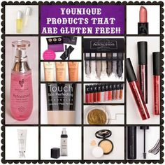Are you looking for gluten free skin care/make up/cosmetic products? Try Younique's Uplift eye serum, Splurge cream eye shadow, Refreshed rose water, Glorious Primer, 3D fiber lash mascara, BB cream, Touch concealer, Divine moisturiser (moisturizer), Addiction eyeshadow palette, lip stains, Touch compact foundation, Opulence lipstick, Lucrative lip gloss, brow gel are all gluten free.
