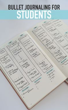 BULLET JOURNALING FOR STUDENTS! A weekly spread for keeping track of classes, to-do lists, homework, and meal planning!