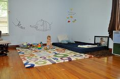 Montessori floor bed - also love that rug/floor play mat. Thinking this will be very practical for my Ramona