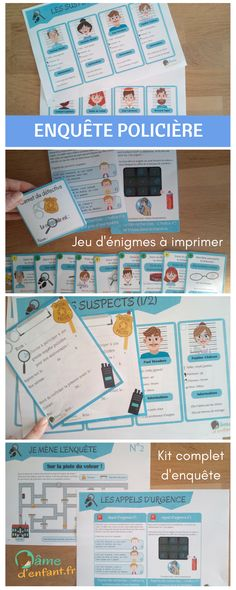 Complete police investigation kit to print for children from 7 years - Anniversary / Tea time / Family fun / Kids activities - - Montessori Activities, Fun Activities For Kids, Infant Activities, Educational Activities, Spy Birthday Parties, Happy Birthday, Teaching French, Kids Corner, Detective