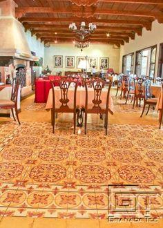 Tile floor Antigua hotel restaurant.
