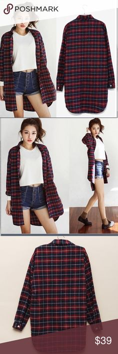 Dark red soft flannel Material: cotton blended. Super comfy and chic. Tops