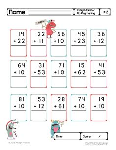 2 digit addition without regrouping pdf worksheet with this cute monsters. There are fifteen math problems for your child. Addition With Regrouping Worksheets, Math Division Worksheets, First Grade Math Worksheets, Free Kindergarten Worksheets, Math Addition, School Worksheets, Math Activities, English Worksheets For Kids, Math Concepts