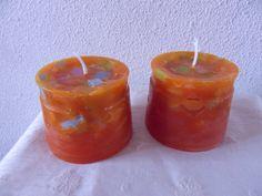 Handgemaakte kaarsen (gerecycled).  Mooi duo toch?