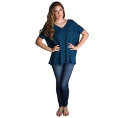 Majolica Blue Piko V-Neck Short Sleeve Top - Size M