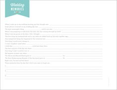 """Wedding Day """"Memory"""" sheet while it's fresh in your mind."""
