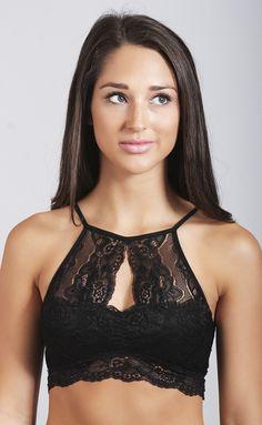 87b3d516c5 semi-sweet lace halter bralette - black-L Lace Halter Bralette