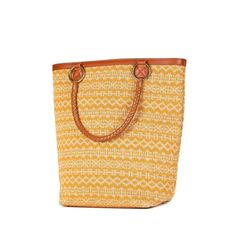 Lady tote jacquard ocher and cocgnac leather by Laema