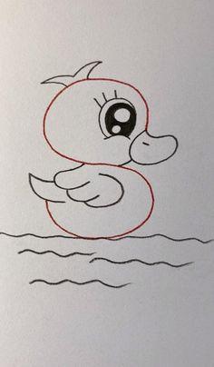 Cute Little Drawings, Easy Drawings For Kids, Drawing For Kids, Drawing Lessons, Art Lessons, Easy Doodle Art, Cute Easy Doodles, Art Drawings Sketches Simple, Simple Cute Drawings