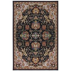 Crossroads Black Rectangular 5 Ft 3 X 8 Ft 3 Rug Karastan Area