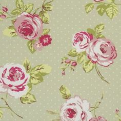 English Rose Green Oilcloth Tablecloth