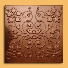 """Capri Copper (20""""x20"""" Foam) Ceiling Tile by Antique Ceilings. $3.54. Easy to install - with most any Mastic ceramic tile adhesive. Can be installed right over Pop Corn ceiling. Tin like look from a modern material. Can be painted with most any water or latex based paints. Made from high quality Polystyrene foam. The ceiling tiles and panels are made of uniform extruded polystyrene foam. With this technology, it is possible to obtain smooth and even surface. They will give ..."""