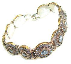 $91.25 Romantic Style!! White Topaz Two Tones Sterling Silver Bracelet at www.SilverRushStyle.com #bracelet #handmade #jewelry #silver #topaz