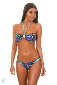 3911e452949 KIMINIS brings this brand new blue bandeau bikini model with a flowered and  multicolored theme from
