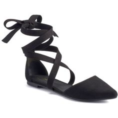Candie's® Women's Lace-Up D'Orsay Flats (14.590 HUF) ❤ liked on Polyvore featuring shoes, flats, black, flat pointed-toe shoes, lace up pointed toe flats, black tie shoes, flat shoes and black lace up shoes