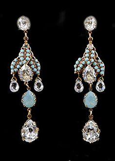 BIJOUX HEART Turquoise Swarovski Crystal Earrings