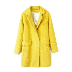 Solid Color Long Sleeve Coat For Women ($40) ❤ liked on Polyvore featuring outerwear, coats, long sleeve coat and yellow coat